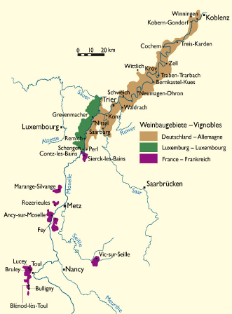 Map Vignobles Moselle